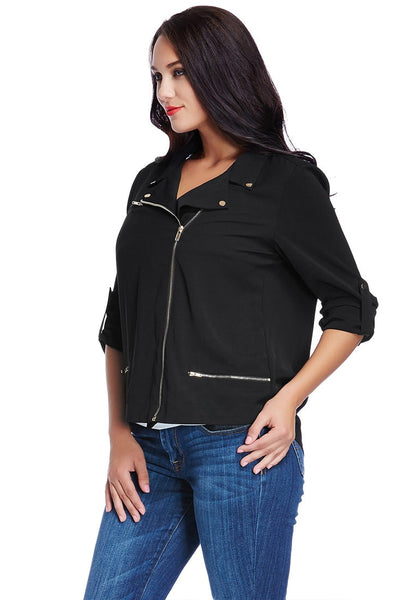 Slight left angled view of model in plus size front-zip black blazer