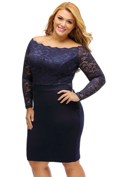 Slight left angled view of model in plus size navy off-shoulder lace dress