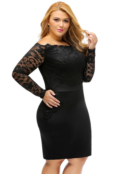 Slight right angled view of model in plus size black off-shoulder lace dress