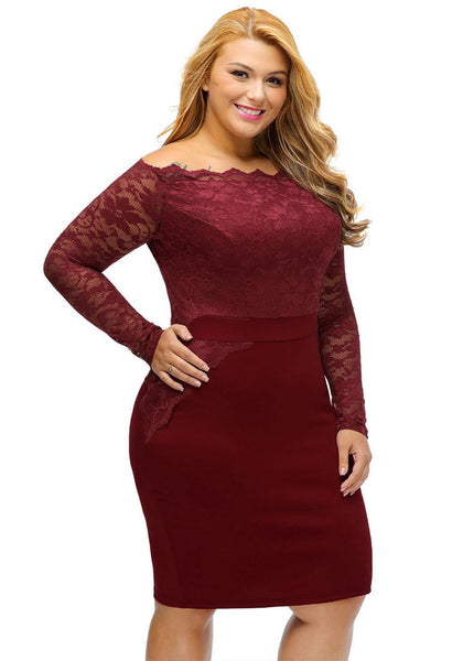 Slight right angled view of model in plus size burgundy off-shoulder lace dress