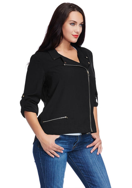 Slight right angled view of model in plus size front-zip black blazer