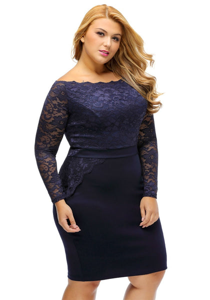 Slight right angled view of model in plus size navy off-shoulder lace dress