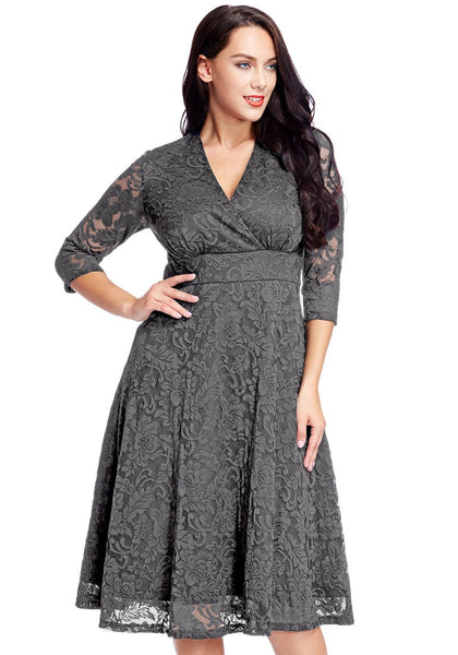 plus size grey lace surplice midi dress | lookbook store