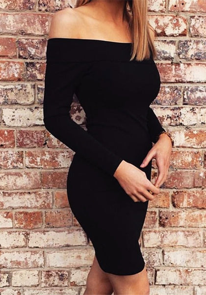 Slight side view of model in black off-shoulder bodycon dress