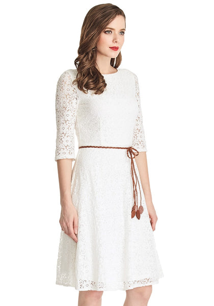 Slightly angled shot of lady wearing white lace crop sleeves A-line dress
