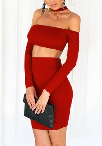 Red Off-Shoulder Pencil Skirt Co-Ord Set