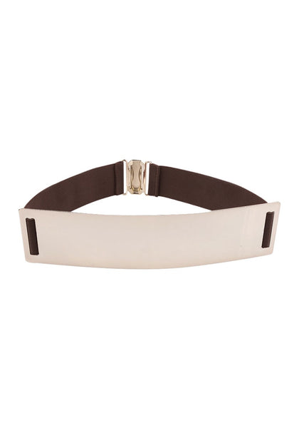 Smooth Plate Stretch Waist Belt - Chic Brown Smooth Plate Belt