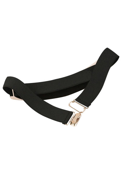 Smooth Plate Stretch Waist Belt - Features A Gold Bar At Front
