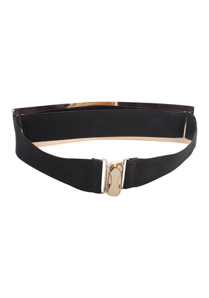 Smooth Plate Stretch Waist Belt - Features Clasp Closure At Back