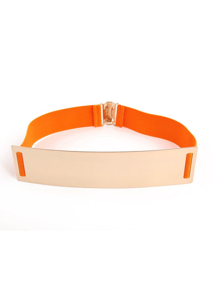 Smooth Plate Stretch Waist Belt - Tangy Orange Smooth Plate Belt