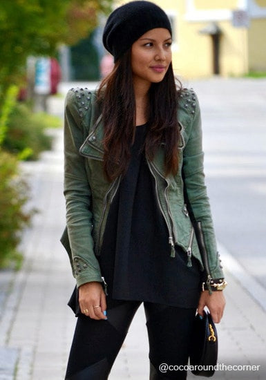 Studded Shoulder Denim Blazer - Green - Chic Tight Fit Denim Blazer