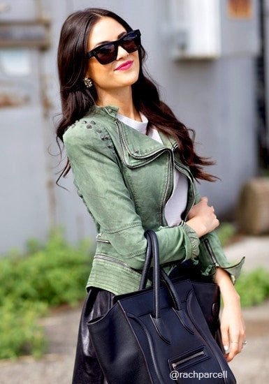 Studded Shoulder Denim Blazer - Green - Cool Casual Top Accompaniment