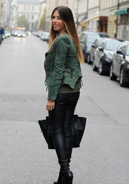 Studded Shoulder Denim Blazer - Green - Elegantly Styled Zipper Denim Blazer