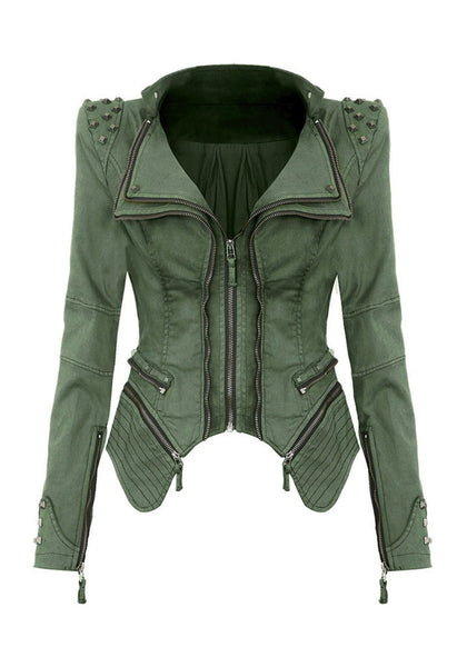 Front view of studded shoulder denim blazer - green