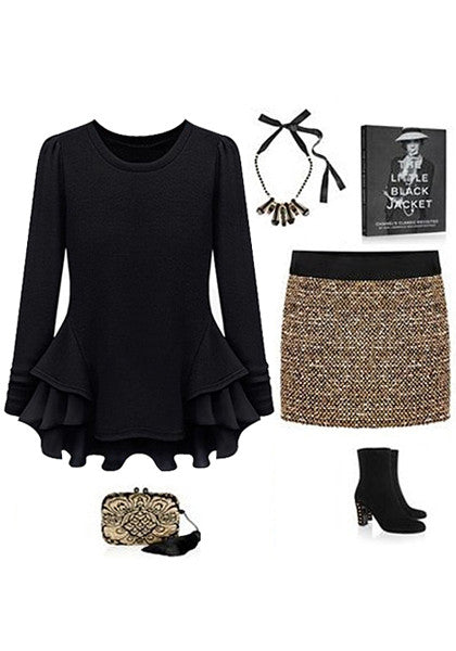 Black peplum ruffled top with ensembles