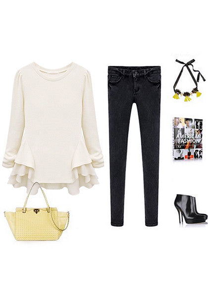 White peplum ruffled top and ensembles