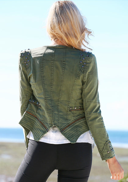 Back view of girl in Studded Shoulder Denim Blazer - Green