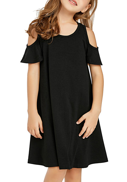 Front view of little girl wearing black cold shoulder ruffled short sleeves girl tunic dress