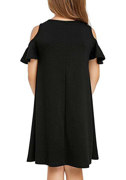 Back view of little girl wearing black cold shoulder ruffled short sleeves girl tunic dress