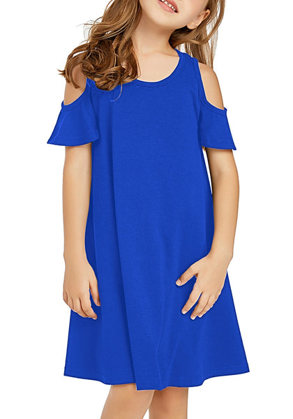 Front view of little girl wearing navy blue cold shoulder ruffled short sleeves girl tunic dress