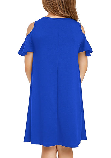 Back view of little girl wearing navy blue cold shoulder ruffled short sleeves girl tunic dress