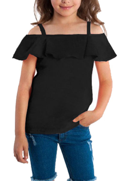 Front view of cute model wearing black short sleeves ruffled off-shoulder girl top