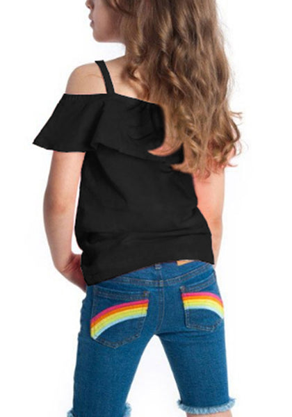 Back view of model wearing black short sleeves ruffled off-shoulder girl top