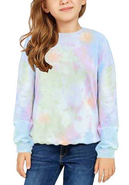 Front view of little girl wearing light blue tie-dye crewneck pullover girls' sweater