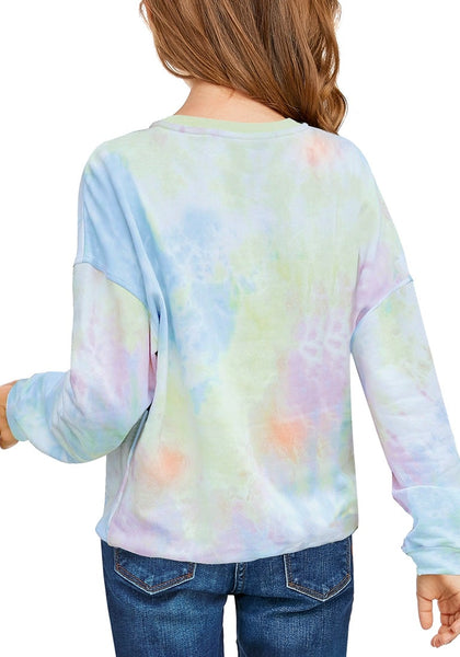 Back view of model wearing light blue tie-dye crewneck pullover girls' sweater