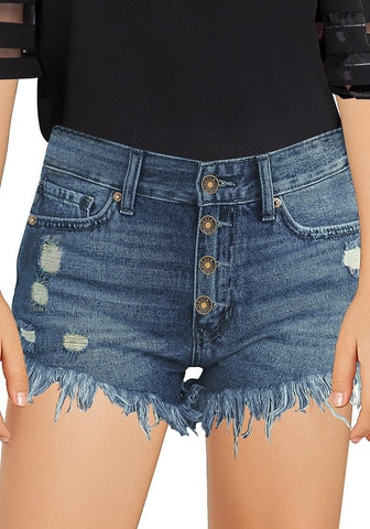 Blue Frayed Hem Button-Up Ripped Girls' Denim Shorts