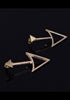 Triangle gold drop earrings in black background