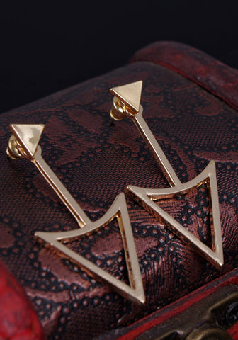 Triangle Gold Drop Earrings
