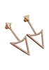 Triangle gold drop earrings in a white background