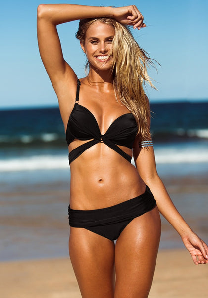 Twist Bandeau Bikini - Black - Hook Closure Swimwear