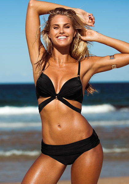 Twist Bandeau Bikini - Black - Hot Twist Bandeau Swimwear
