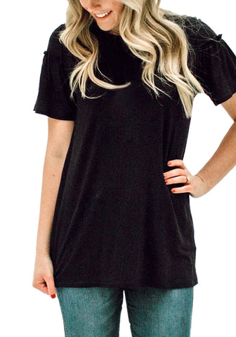 Black Short Ruffle Sleeves Casual Blouse