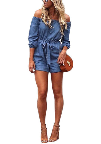 Denim Blue Off-Shoulder Romper