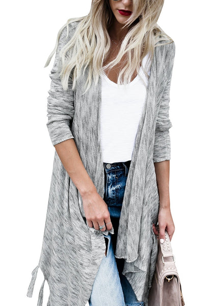 Woman wearing grey long sleeves knitted open front tassel cardigan