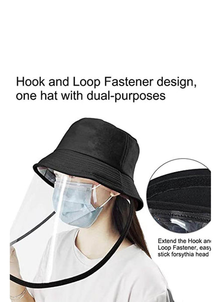 Women wearing full face bucket hat protective face shield with details