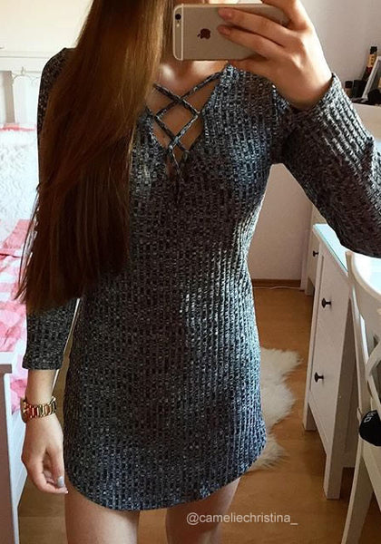 ameliechristina_ is wearing lookbookstore dark grey ribbed mini dress