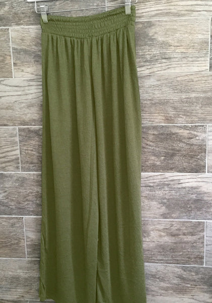 army green elastic waist lounge pants