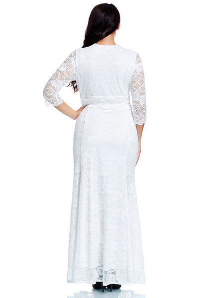 back view of model in plus size white lace long dress