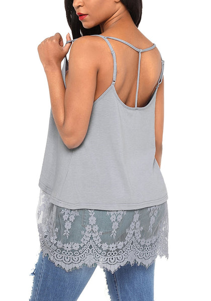 back view of model wearing grey sheer lace-hem strappy blouse