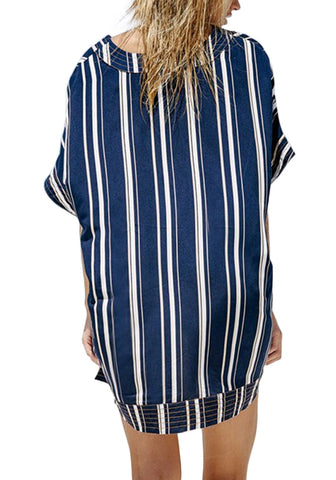 Navy Striped Lace-Up Kaftan Beach Cover-Up
