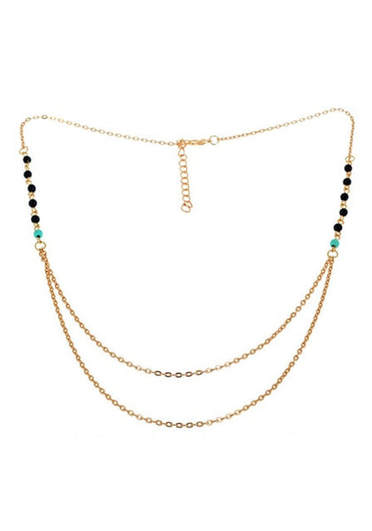 beaded gold layered necklace