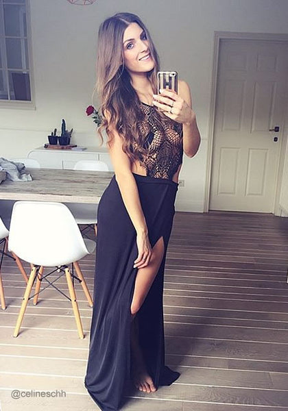 celineschh is wearing lookbookstore black lace halter neck gown