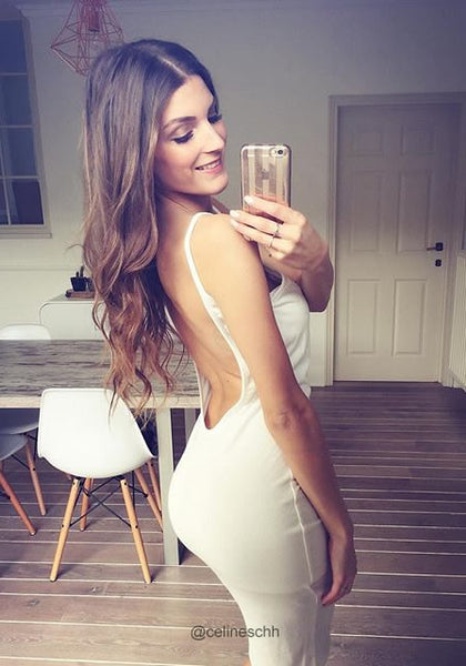 celineschh is wearing lookbookstore white ribbed cami bodycon dress