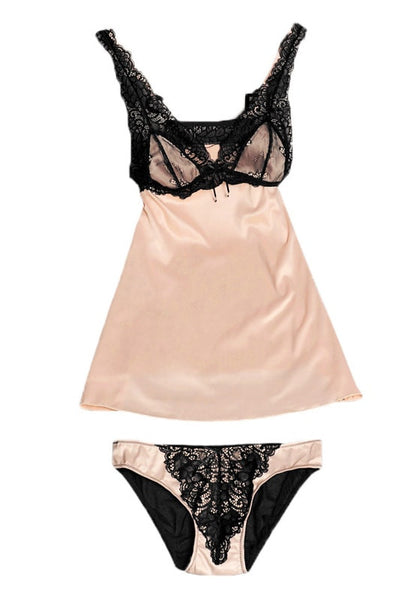 champagne lace babydoll and satin and lace panty