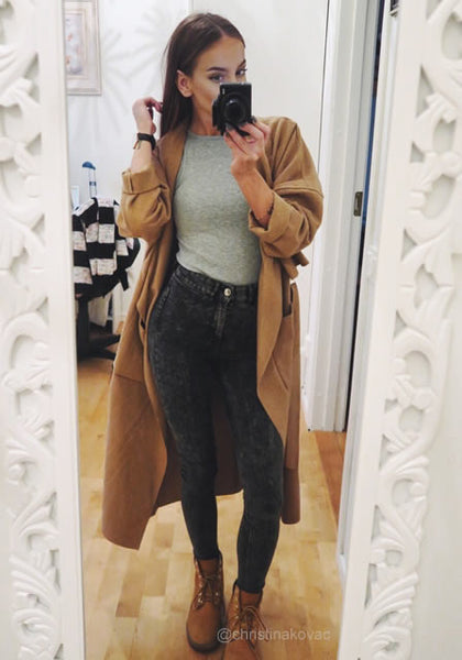 christinakovac is wearing lookbookstore camel draped open-front long coat