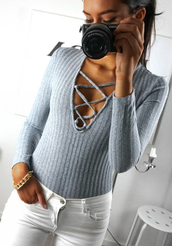 Grey Ribbed Lace-Up Bodysuit